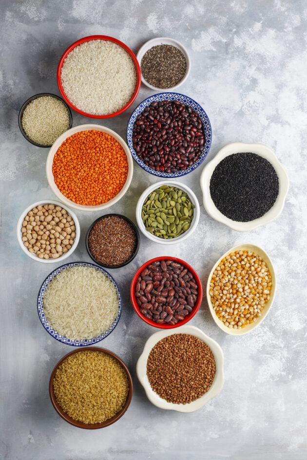 Superfoods, seeds and grains for vegan and vegetarian eating. Cl
